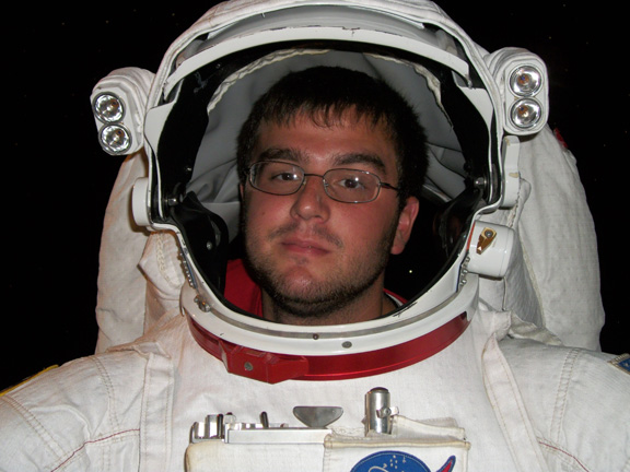 student in astronaut suite