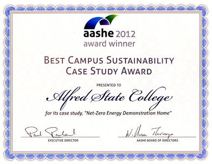 AASHE certificate