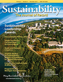 December 2012 issue of Sustainability: The Journal of Record
