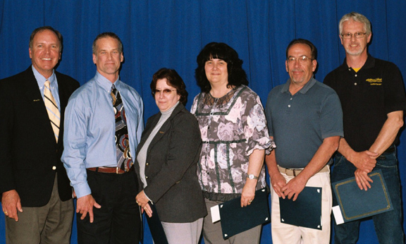 President Dr. John M. Anderson, Andrew Bayus, Patricia Lewis-Brownell, Deborah Neu, James Jerla, and Roger Elias