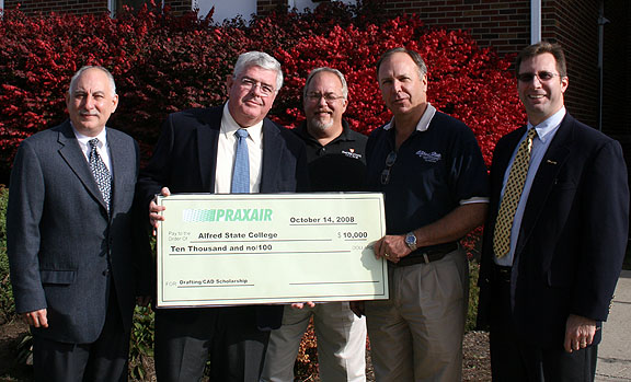 ASC receives second installment of an annual $10,000 scholarship donation from Praxair, Inc., of Tonawanda.