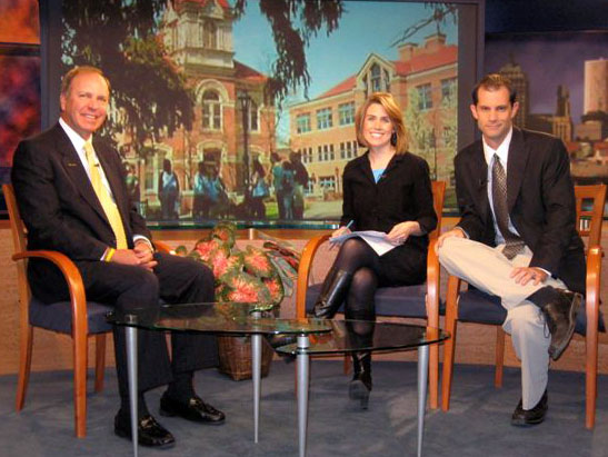 President Anderson with WHAM's morning news team Holly Maynard and Evan Dawson