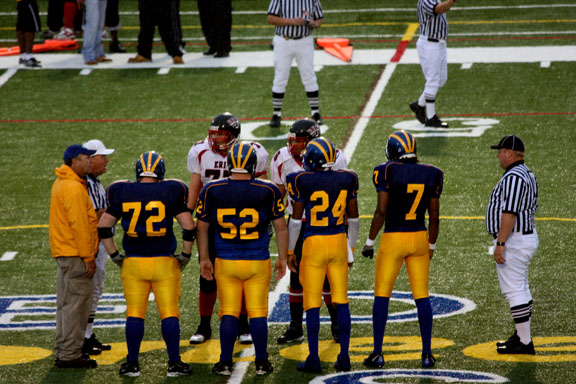 Football game coin toss - Homecoming/Family Weekend 2008
