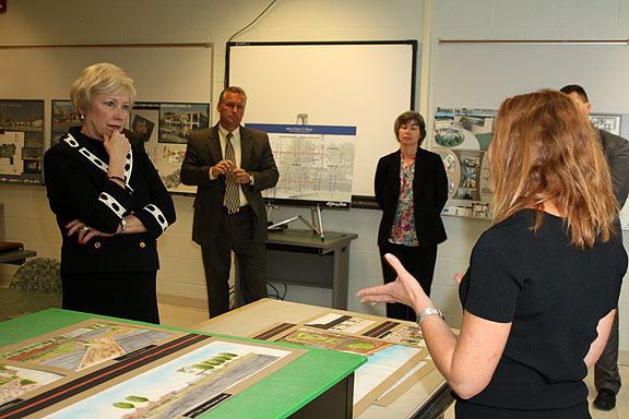 SUNY Chancellor Nancy L. Zimpher listens to presentations in the Engineering Technology Building.