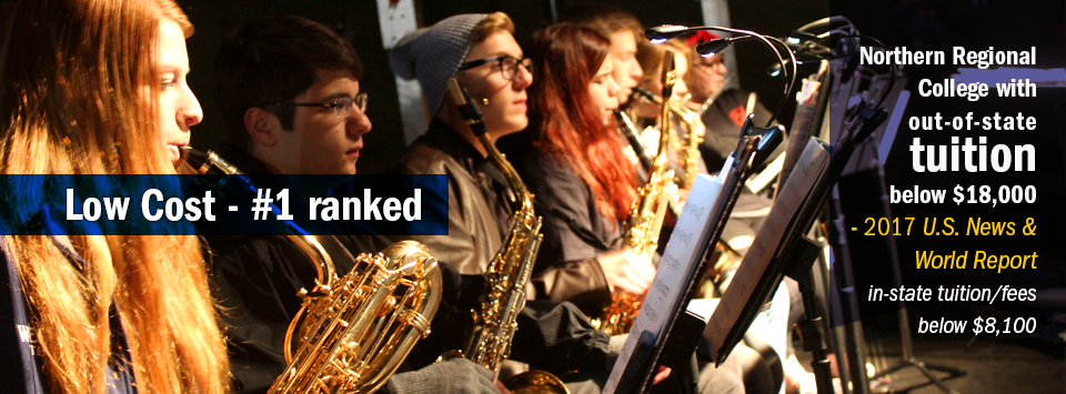 View looking down row of the jazz band. Low Cost - #1 ranked Northern Regional College with out-of-state tuition below $18,000 by 2017 US News & World Report. in-state tuition/fees below $8,100