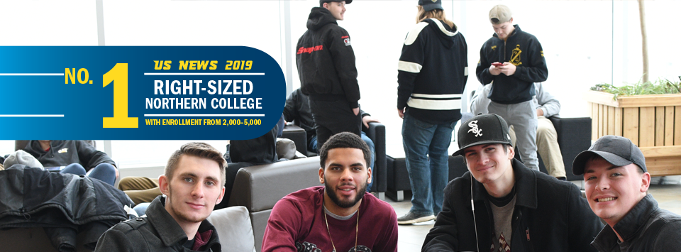 No. 1 Right-Sized Norther College with Enrollment from 2,000-5,000 US News 2019. Image of guys hanging out  in the SLC