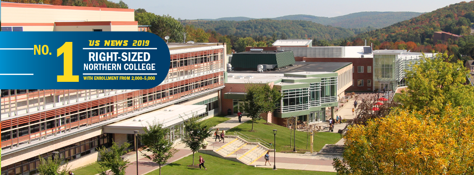 No. 1 Right-Sized Norther College with Enrollment from 2,000-5,000 US News 2019. Image of campus landscape with rolling hills in the background.