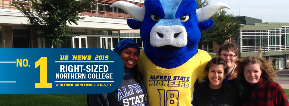 No. 1 Right-Sized Norther College with Enrollment from 2,000-5,000 US News 2019. Image of students with new ox mascot.