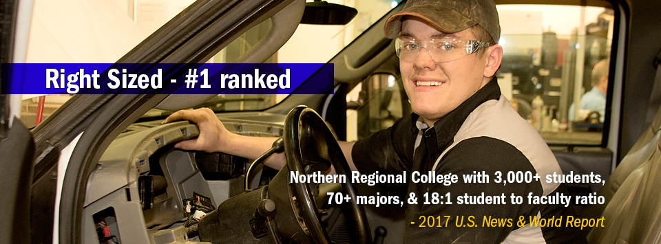 Automotive Trades student working on dash of car.  Right Sized #1 ranked Northern Regional College with 3,000+ students,  70+ majors, & 18:1 student to faculty ratio - 2017 U.S. News & World Report