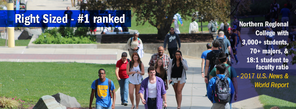 Students walking up the center of campus. Low Cost #1 ranked Northern Regional College with out-of-state tuition below $18,000 by 2017 US News & World Report