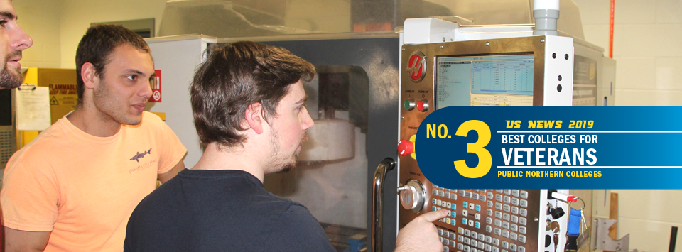 US News 2019 No. 3 Best Colleges for Veterans, public northern colleges. Image of mechanical engineering students in lab using CNC machine.