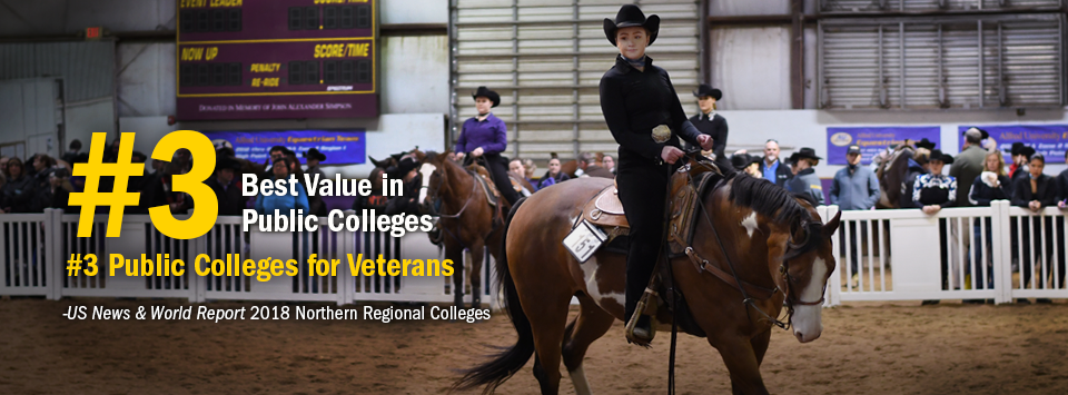 #3 Best Value in Public Colleges. #3 Public Colleges for Veterans. - US News & World Report, 2018 Northern Regional Colleges. Image of equestrian rider on horseback