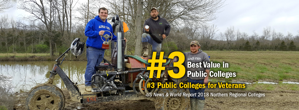 #3 Best Value in Public Colleges. #3 Public Colleges for Veterans. - US News & World Report, 2018 Northern Regional Colleges. Image of BUV team on their muddy vehicle with trophies.