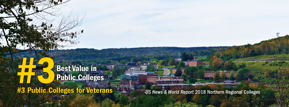 #3 Best Value in Public Colleges. #3 Public Colleges for Veterans. - US News & World Report, 2018 Northern Regional Colleges. Image of Alfred State campus from afar.