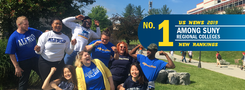 No. 1 Among SUNY Regional Colleges US News 2019 New Rankings. Image of students celebrating wearing blue and gold on campus.