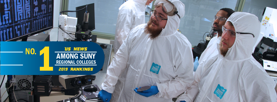 No. 1 among SUNY regional colleges, US News 2019 new rankings. Image of students in white suits in clean room making wafers.