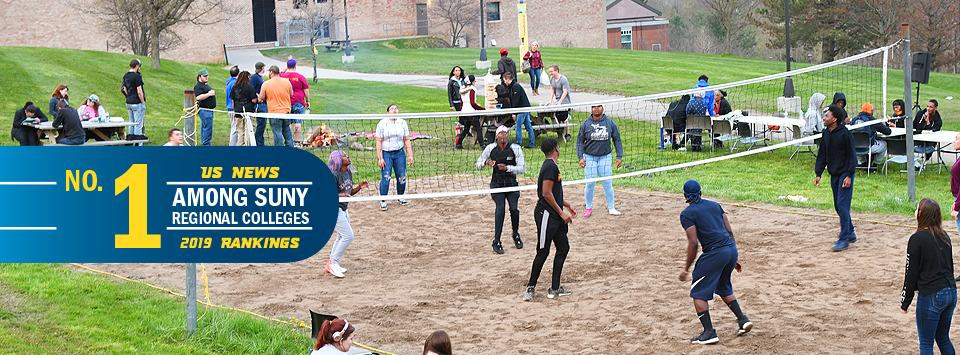 No. 1 among SUNY regional colleges, US News 2019 new rankings. Image of students on the quad, playing volleyball and hanging out by the camp fire.