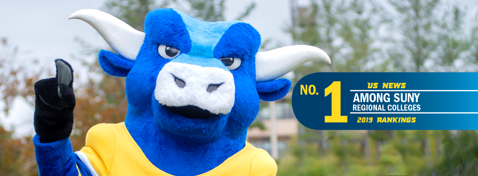 No. 1 among SUNY regional colleges, US News 2019 new rankings. Image of Big Blue mascot holding up 1 finger.