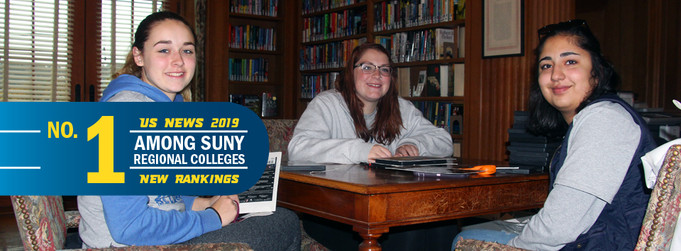 No. 1 Among SUNY Regional Colleges US News 2019 New Rankings. Image of students at desk in library.