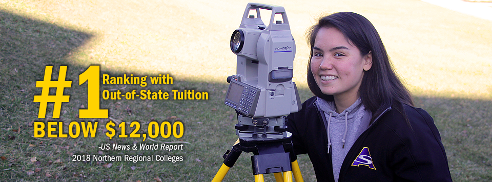 #1 ranking with Out-of-State Tuition Below $12,000 - US News & World Report, 2018 Northern Regional Colleges. Image of Surveying student with surveying equipment in the field.