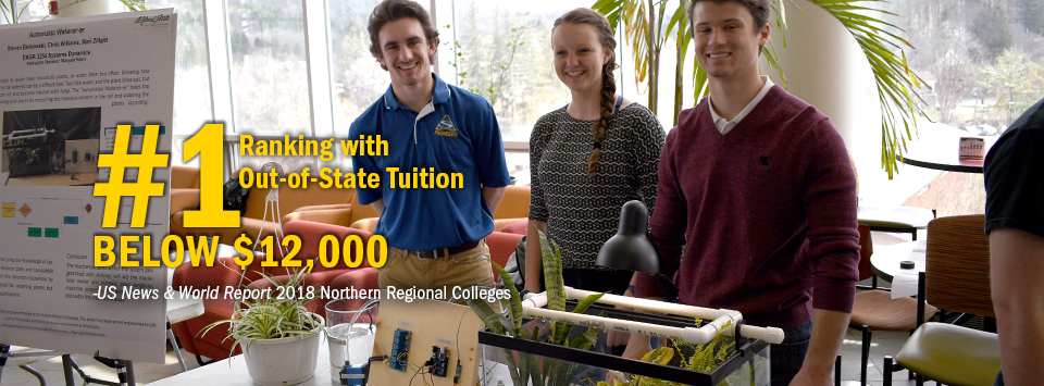 #1 ranking with Out-of-State Tuition Below $12,000 - US News & World Report, 2018 Northern Regional Colleges. Image of three students showing off their final project.