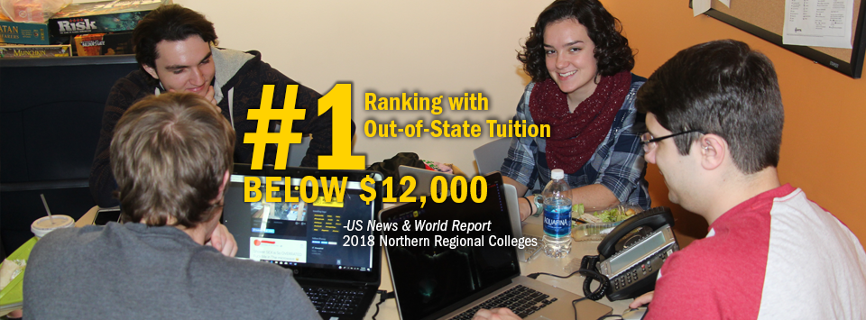 #1 ranking with Out-of-State Tuition Below $12,000 - US News & World Report, 2018 Northern Regional Colleges. Image of students working on computers.