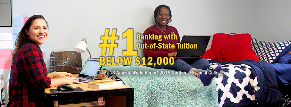 #1 ranking with Out-of-State Tuition Below $12,000 - US News & World Report, 2018 Northern Regional Colleges. Image of two students working on laptops in their dorm room.