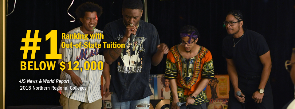 #1 ranking with Out-of-State Tuition Below $12,000 - US News & World Report, 2018 Northern Regional Colleges. Image of four guys rapping with microphones