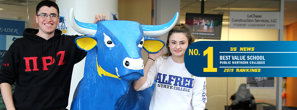 No. 1 Best Value School public northern colleges US News 2019 rankings. Image of two students standing next to our ox mascot statue.