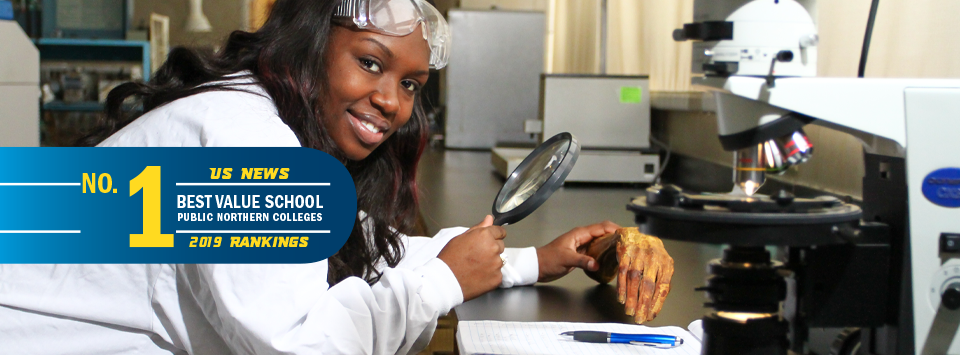 No. 1 Best Value School public northern colleges US News 2019 rankings. Image of forensic science major with microscope