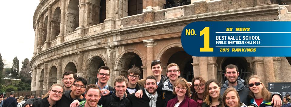 No. 1 Best Value School public northern colleges US News 2019 rankings. Image of architecture students abroad in Italy.