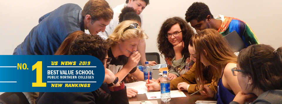 No. 1 Best Value School public northern colleges US News 2019 new rankings. Image of students collaborating.