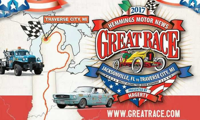 Great Race logo and images of cars and a map