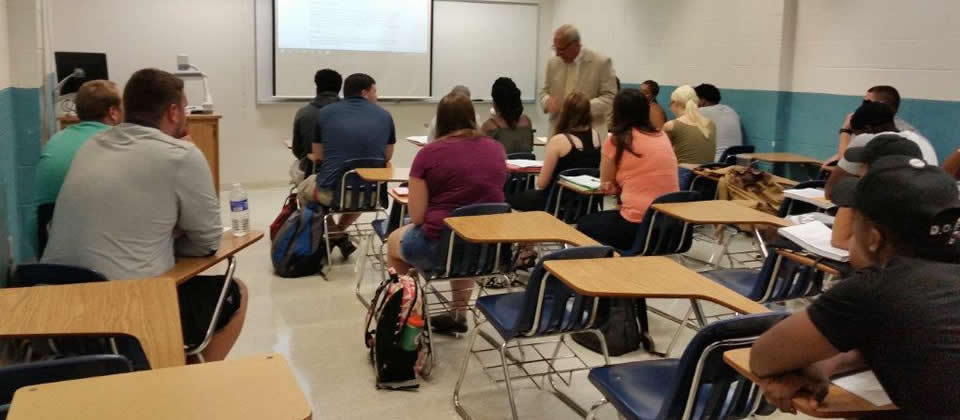 students in a classroom with instructor