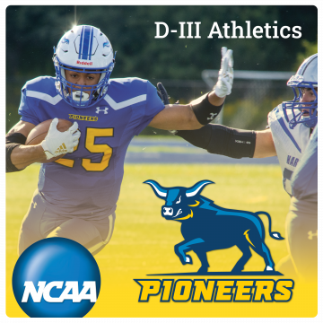 Link to Alfred State Pioneer Athletics page. NCAA logo, Pioneers logo, D-III Athletics. Image of football player with ball and helmet.