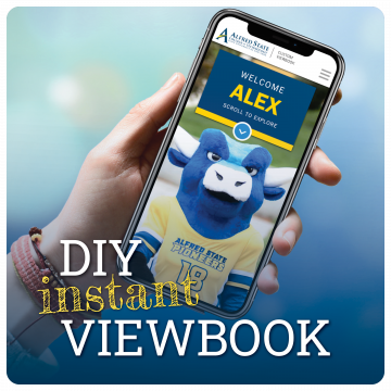 Link to create your own custom viewbook instantly. DIY instant Viewbook. Image of hand holding phone with ox mascot.