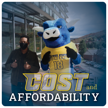 Link to tuition and costs page. Cost and Affordability, Image of mascot Big Blue the ox and a student in mask giving thumbs up.