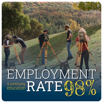 Link to Career Development page. Employment and Continuing Education Rate: 98%. Image of surveying students outdoors working with equipment, wearing masks.