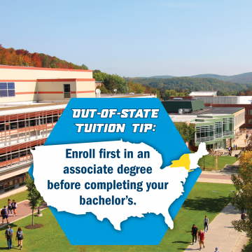 Out-of-state tuition tip: Enroll first in an associate degree before completing your bachelor's. Some out-of-state students can save tuition dollars by starting in one of our associate degree programs before seamlessly continuing in one of our corresponding bachelor's degree programs. Contact your financial aid counselor for details.