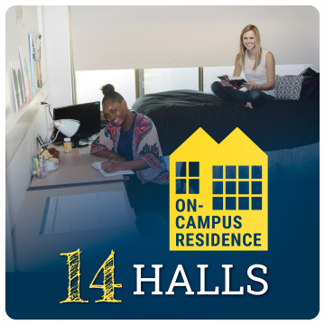 Link to housing page. 14 on-campus residence halls. Image of two students in dorm room.