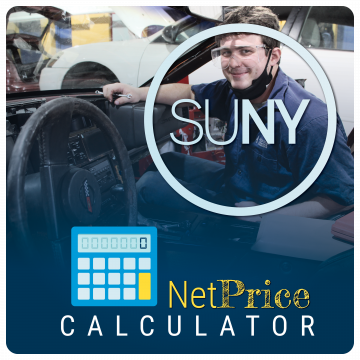 Link to SUNY Net Price Calculator. SUNY logo and graphic of calculator over image of student with PPE working on car.