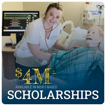 Link to scholarships page. $4M+available in merit-based scholarships. Image of nursing student in lab with mannequin.