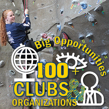 Big Opportunities, 100+ clubs and organizations graphic over image of girl climbing rock wall.