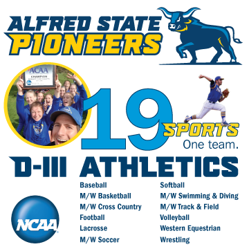Alfred State Pioneers.  D-III athletics. 19 Sports. One Team. NCAA logo
