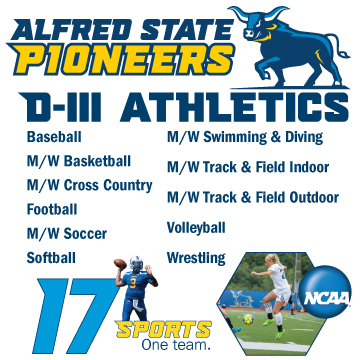 Alfred State Pioneers.  D-III athletics. 17 Sports. One Team. NCAA logo Baseball, men's and women's basketball,  men's and women's cross country, football, men's and women's soccer, softball, men's and women's swimming and diving, men's and women's track & field indoor, men's and women's track & field outdoor, volleyball, wrestling.