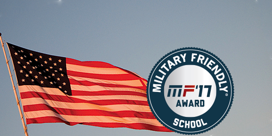US flag and military friendly '17 school logo