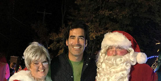 Mrs. Claus, show co-host Carter Oosterhouse, and Santa Claus