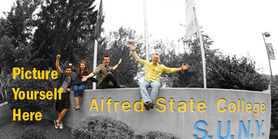 Three students with arms raised on the Alfred State stone monument entrance to campus. Picture Yourself Here