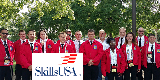 Alfred State students wearing red coats at SkillsUSA competition