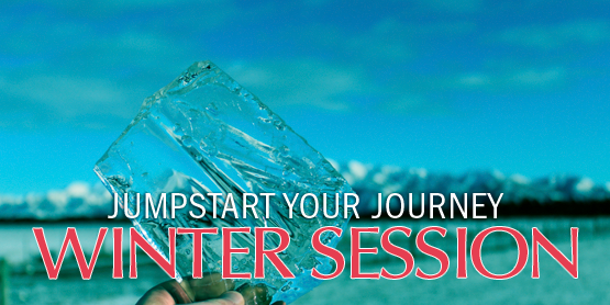 Jumpstart your journey, winter session, hand holding a piece of glass